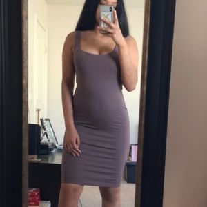 muave/brown bodycon dress